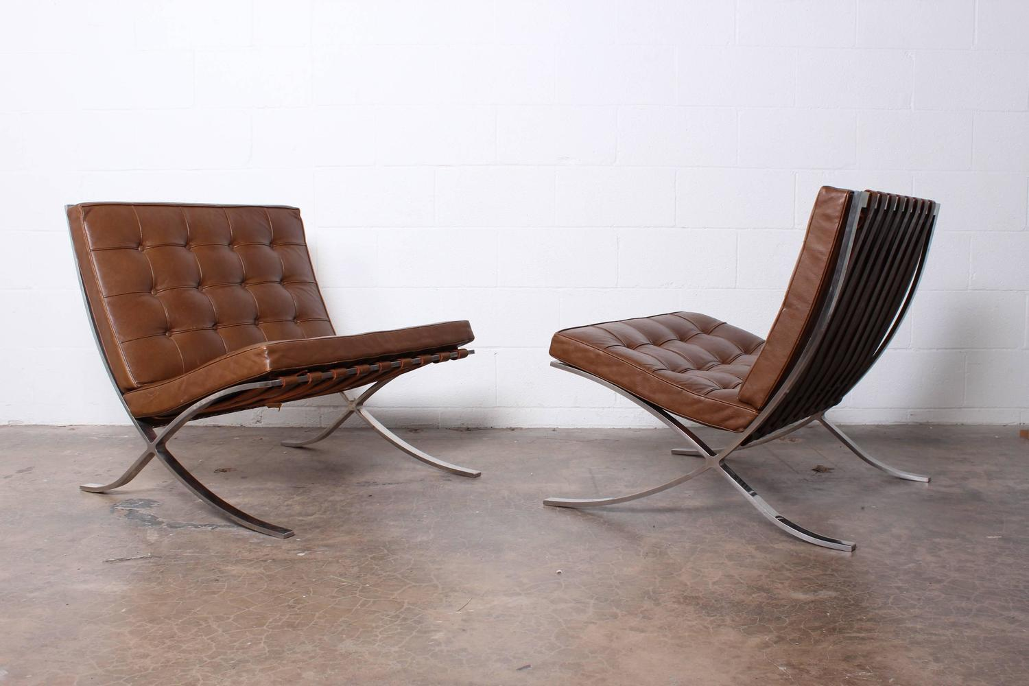 pair of barcelona chairs by mies van der rohe for knoll at 1stdibs. Black Bedroom Furniture Sets. Home Design Ideas