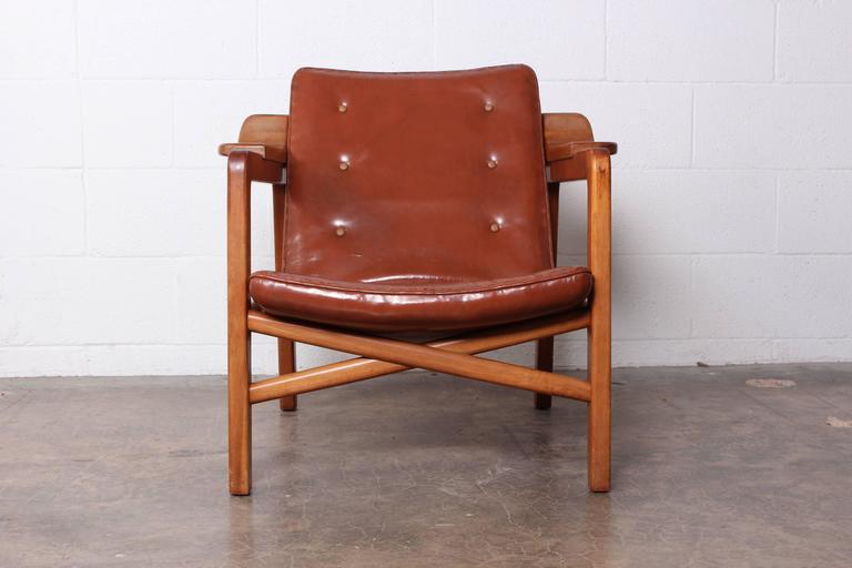 A Teak U0027Fireplaceu0027 Lounge Chair In Itu0027s Original Patinated Leather.  Designed By Tove
