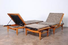 Pair of Oak Chaise Lounges by Hans Wegner.