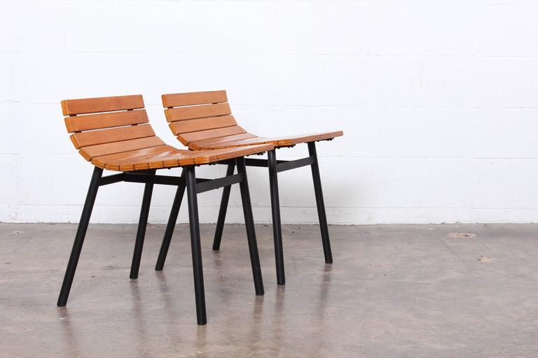 Pair of Slat Stools by Vista of California In Good Condition For Sale In Dallas, TX
