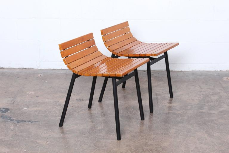 Mid-20th Century Pair of Slat Stools by Vista of California For Sale