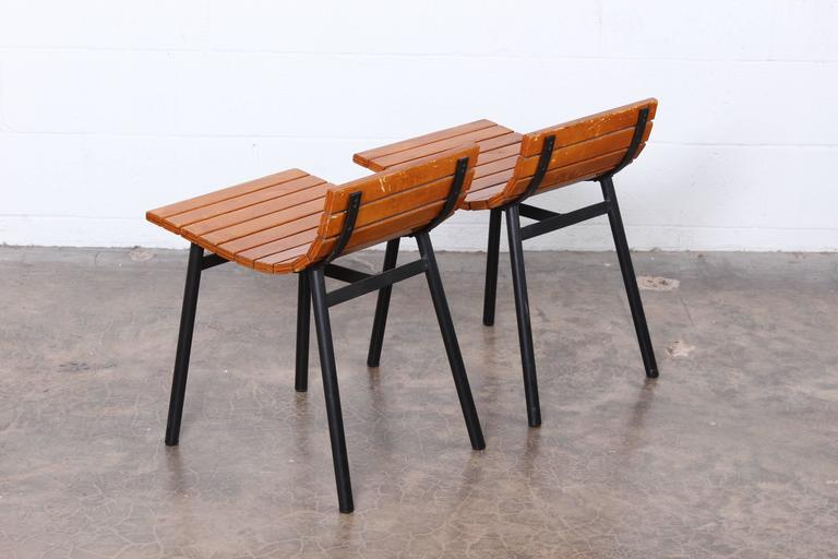 Pair of Slat Stools by Vista of California For Sale 1