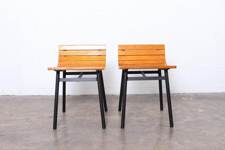 Pair of Slat Stools by Vista of California For Sale 2
