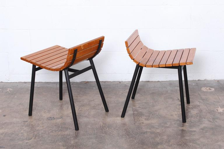 Pair of Slat Stools by Vista of California For Sale 3