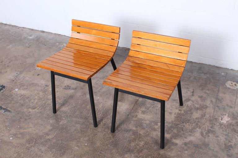 Pair of Slat Stools by Vista of California For Sale 4