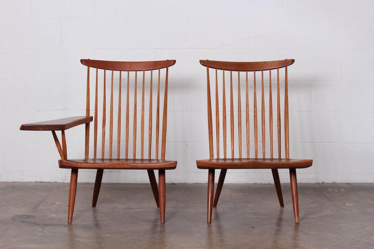 George Nakashima Single Arm Lounge Chair 1968 In Good Condition For Sale In Dallas & George Nakashima Single Arm Lounge Chair 1968 For Sale at 1stdibs