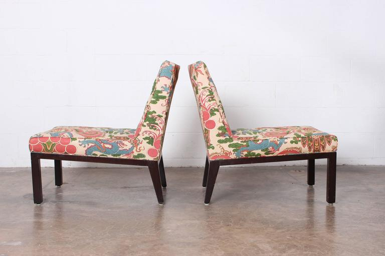 Mid-20th Century Pair of Slipper Chairs by Edward Wormley for Dunbar For Sale