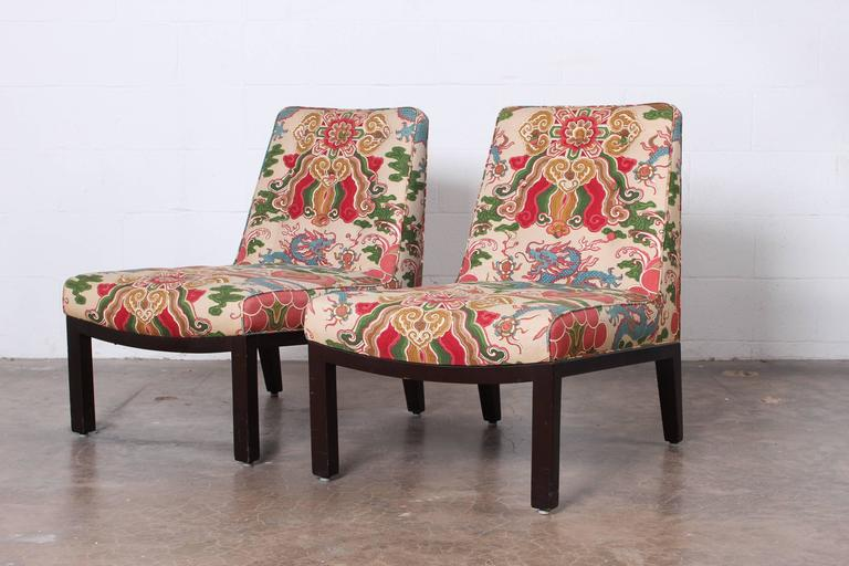 Pair of Slipper Chairs by Edward Wormley for Dunbar For Sale 3