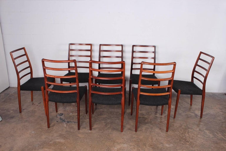 Set of Eight Rosewood Model 82 Dining Chairs by Niels Møller 2