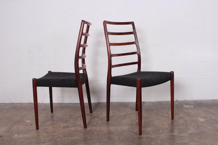 Set of Eight Rosewood Model 82 Dining Chairs by Niels Møller 3