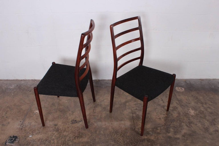 Set of Eight Rosewood Model 82 Dining Chairs by Niels Møller 4