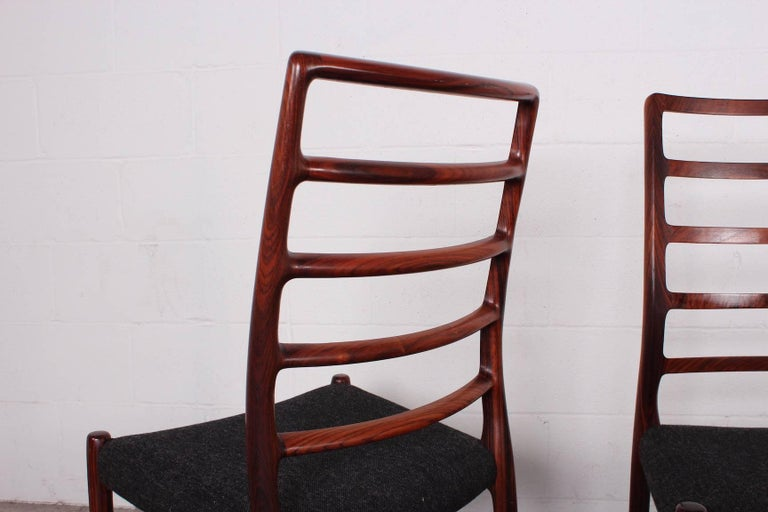 Set of Eight Rosewood Model 82 Dining Chairs by Niels Møller 7