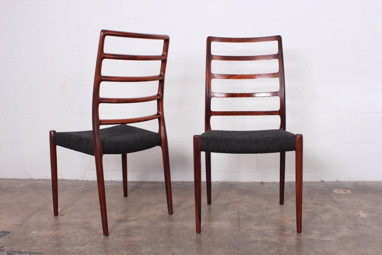 Set of Eight Rosewood Model 82 Dining Chairs by Niels Møller 8