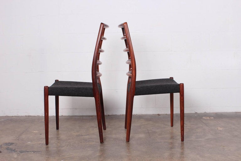 Set of Eight Rosewood Model 82 Dining Chairs by Niels Møller 9