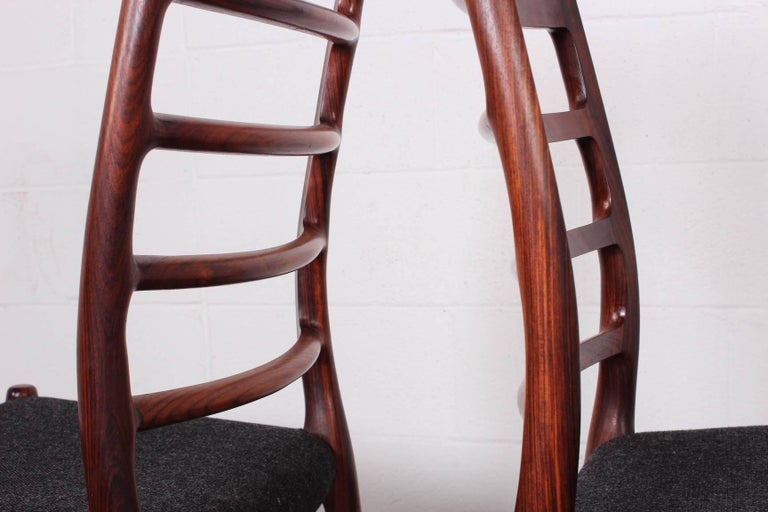 Set of Eight Rosewood Model 82 Dining Chairs by Niels Møller 10
