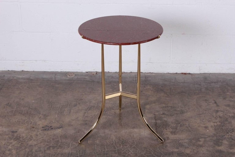 Cedric Hartman Table in Polished Brass and Rosso Granite In Excellent Condition For Sale In Dallas, TX