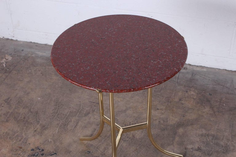 Cedric Hartman Table in Polished Brass and Rosso Granite For Sale 3