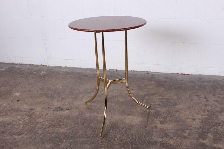 Cedric Hartman Table in Polished Brass and Rosso Granite For Sale 4