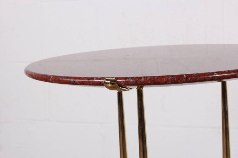 Cedric Hartman Table in Polished Brass and Rosso Granite For Sale 5