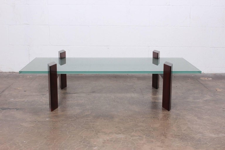 Rosewood and glass coffee table by Carlo Hauner for Forma.
