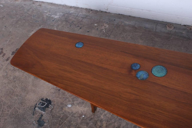 Edward Wormley for Dunbar Coffee Table with Natzler Tiles 10
