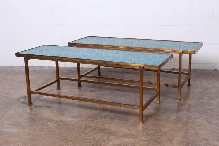 A matching pair of early Murano glass tile tables with brass bases. Designed by Edward Wormley for Dunbar.