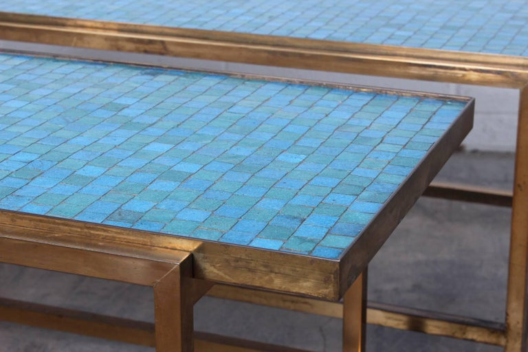 Mid-20th Century Pair of Murano Glass Tile Tables by Edward Wormley for Dunbar For Sale