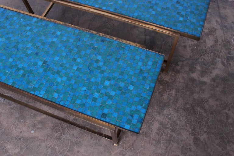Pair of Murano Glass Tile Tables by Edward Wormley for Dunbar For Sale 1