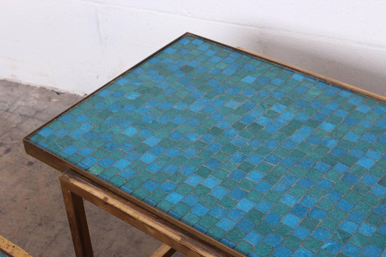 Pair of Murano Glass Tile Tables by Edward Wormley for Dunbar For Sale 2