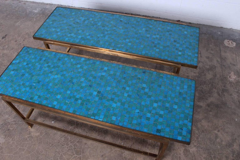 Pair of Murano Glass Tile Tables by Edward Wormley for Dunbar For Sale 4