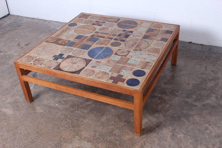 Mid-20th Century Coffee Table with Ceramic Tiles by Tue Poulsen & Willy Beck For Sale