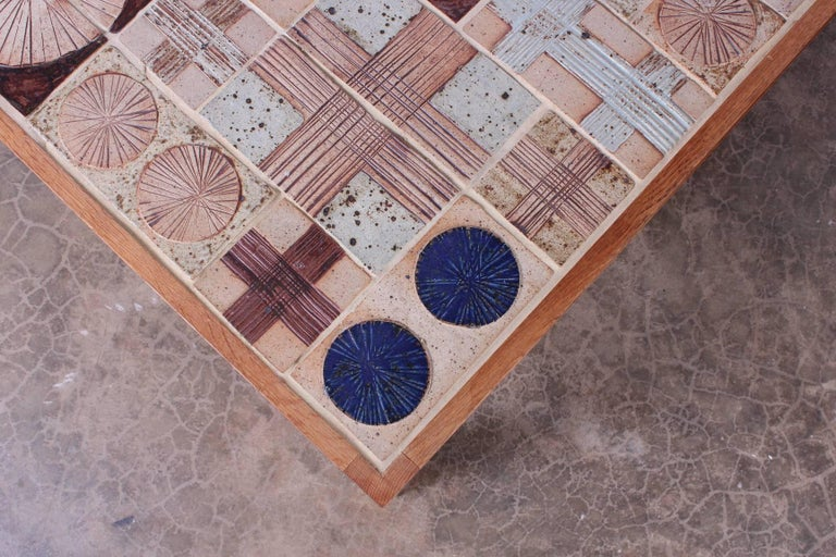 Coffee Table with Ceramic Tiles by Tue Poulsen & Willy Beck For Sale 2