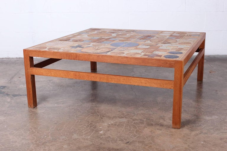 Coffee Table with Ceramic Tiles by Tue Poulsen & Willy Beck For Sale 1