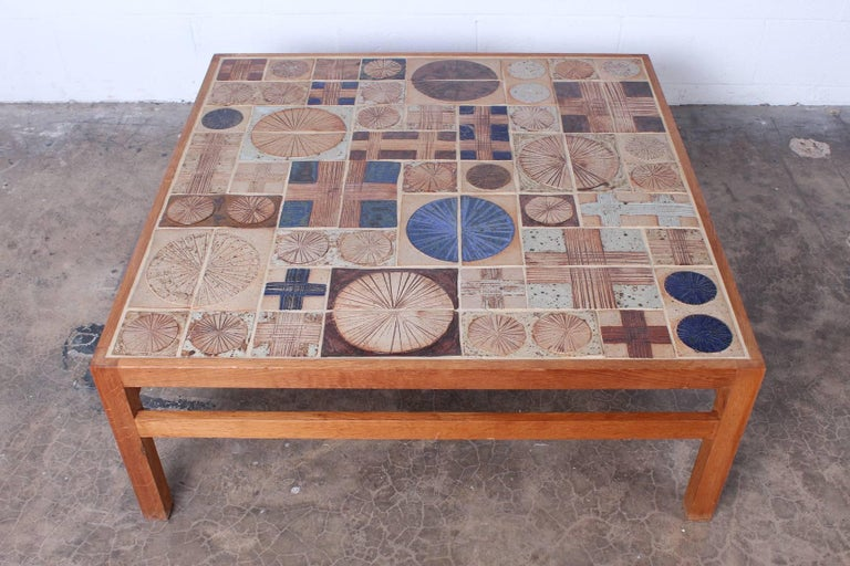 Coffee Table with Ceramic Tiles by Tue Poulsen & Willy Beck In Good Condition For Sale In Dallas, TX