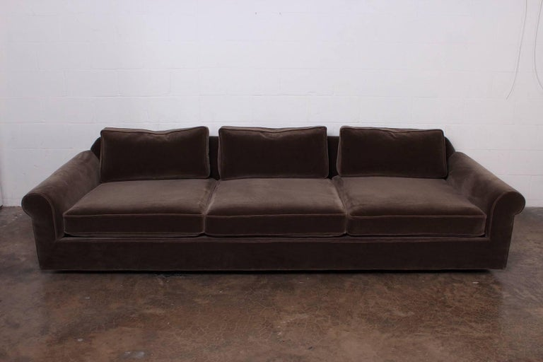 "A large-scale ""Big Texan"" sofa designed by Edward Wormley for Dunbar. Mohair upholstery with down back cushions."