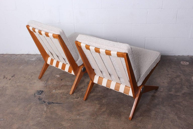 Mid-20th Century Pair of Knoll Scissor Chairs by Pierre Jeanneret For Sale