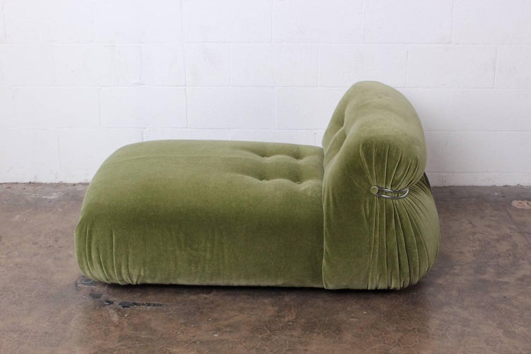 A Soriana chaise longue in green mohair. Designed by Tobia and Afra Scarpa for Cassina.