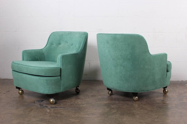 Pair of Dunbar Lounge Chairs by Edward Wormley For Sale 1