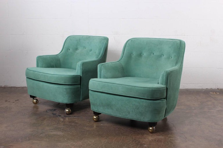Pair of Dunbar Lounge Chairs by Edward Wormley For Sale 4