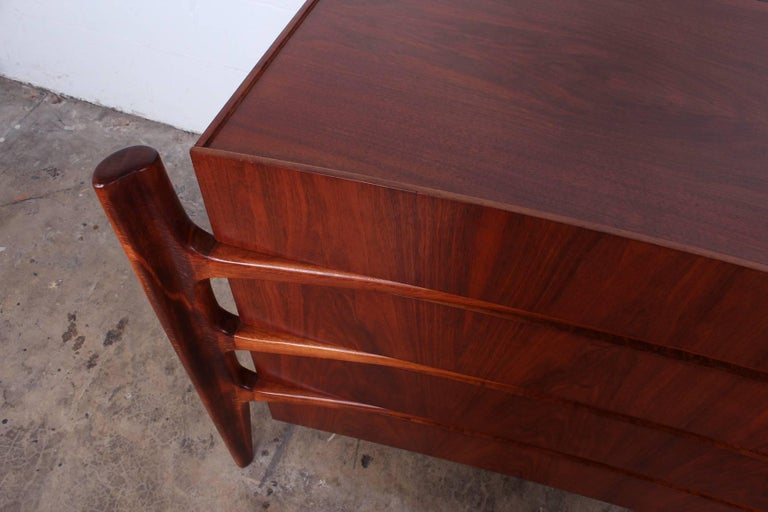 Walnut Curved Front Dresser Designed by William Hinn For Sale 2