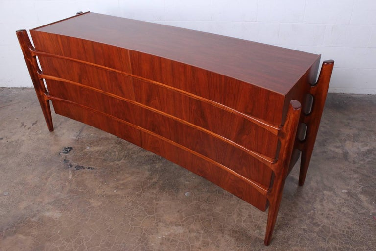 Walnut Curved Front Dresser Designed by William Hinn For Sale 4