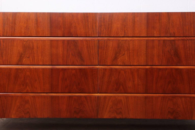 Mid-20th Century Walnut Curved Front Dresser Designed by William Hinn For Sale