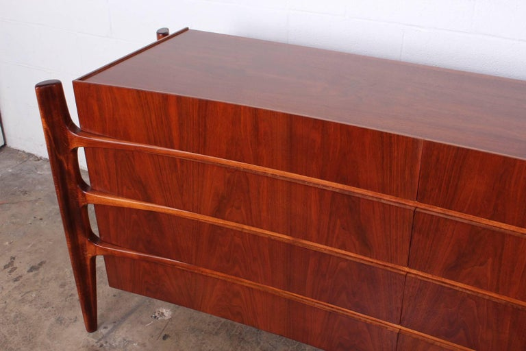 Walnut Curved Front Dresser Designed by William Hinn For Sale 1