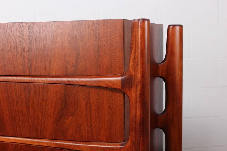 Walnut Curved Front Dresser Designed by William Hinn For Sale 5