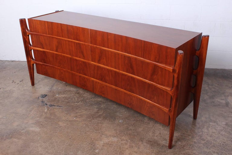Walnut Curved Front Dresser Designed by William Hinn For Sale 3