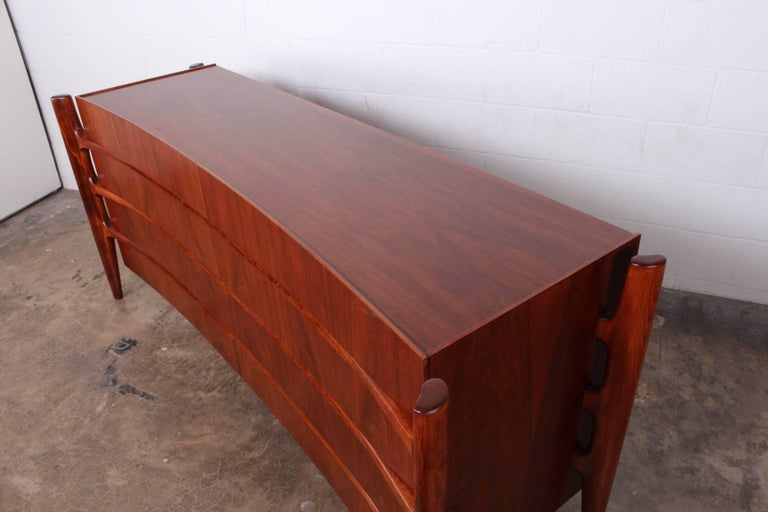 Walnut Curved Front Dresser Designed by William Hinn For Sale 8
