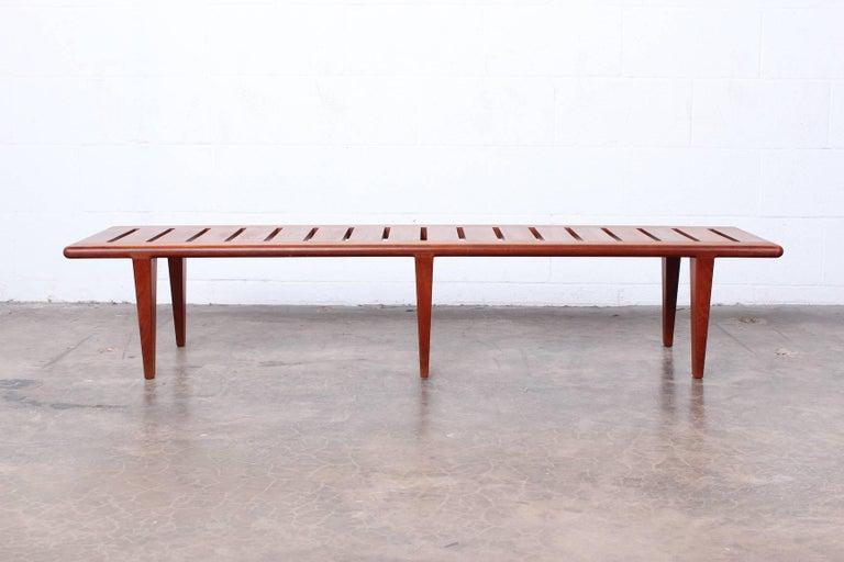 Hans Wegner Slatted Bench for Johannes Hansen In Good Condition For Sale In Dallas, TX