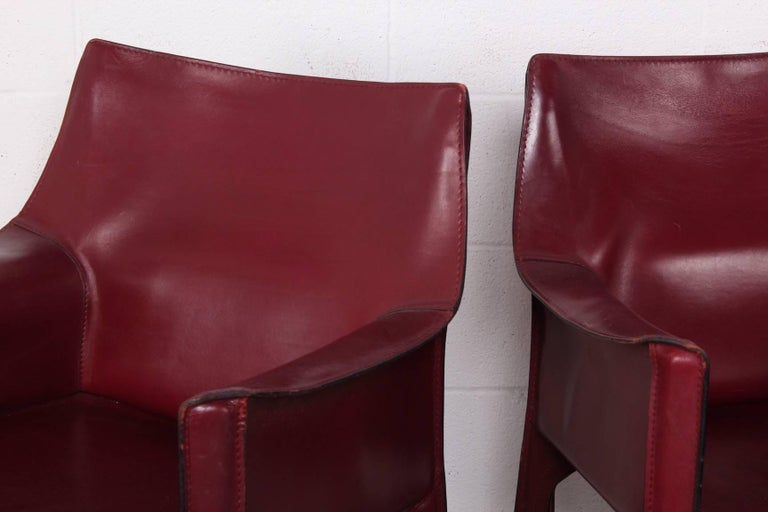 Set of Eight Cab Chairs by Mario Bellini for Cassina For Sale 11