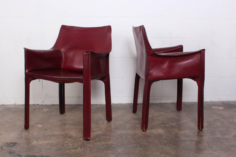 Set of Eight Cab Chairs by Mario Bellini for Cassina For Sale 9