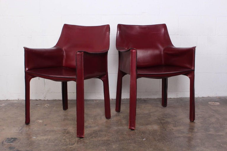 Set of Eight Cab Chairs by Mario Bellini for Cassina For Sale 10